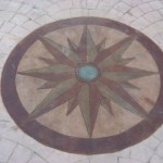 custom colored compass printed in concrete