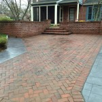 Herringbone stamped concrete pattern
