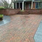 Herringbone pattern stamped concrete driveway
