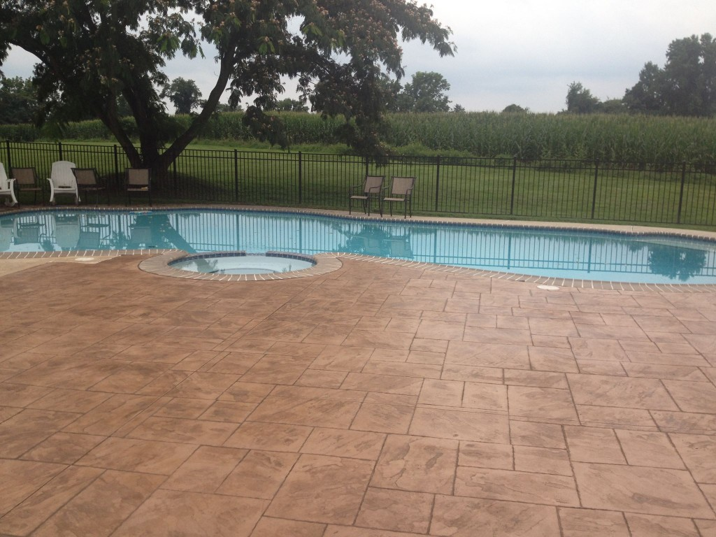 Concrete pool deck chadds ford difelice stamped concrete for Concrete pool
