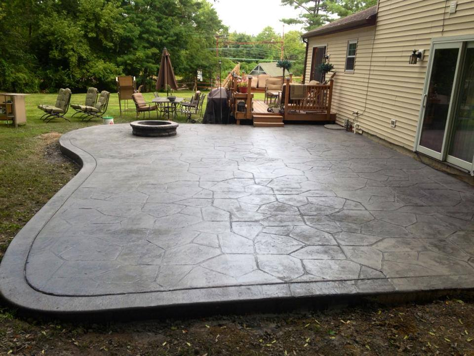 Stamped Concrete Patio. Fire Pit