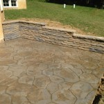 patio with stone wall