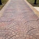 fan cobblestone stamped concrete pattern