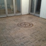 concrete patio with custom design
