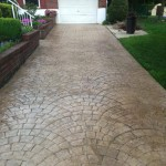 Fan Cobble Stone Stamped Concrete Driveway in Aston, Pa