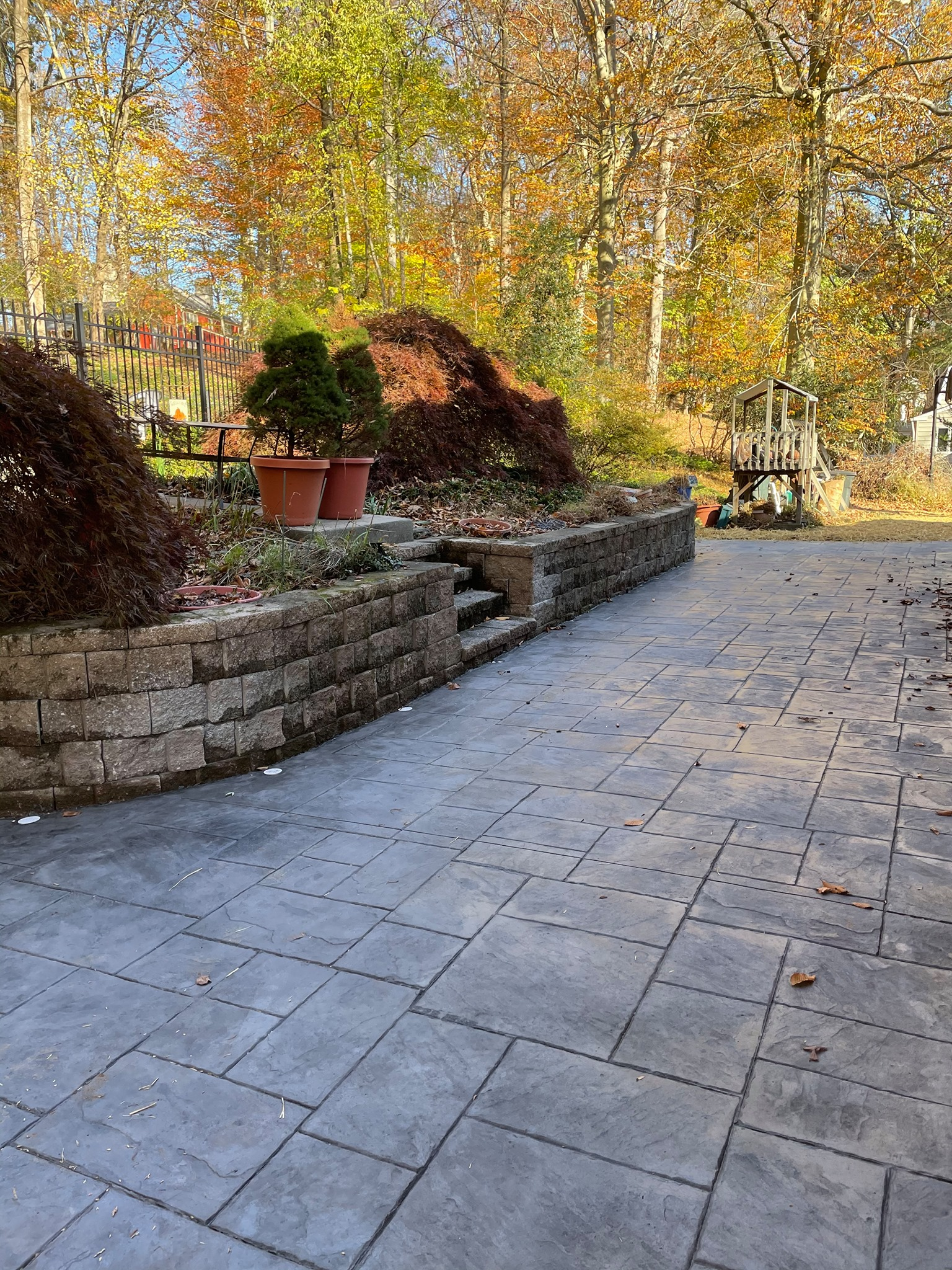 Stamped Concrete Patio with fall scenary