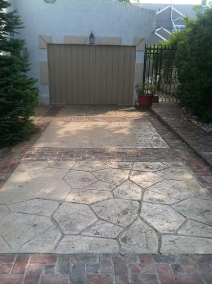Combination stamped concrete and brick driveway