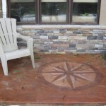 acid stain patio with custom design