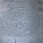 concrete patio custom compass design