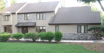 house with stucco and masonry  work