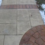 acid stained brick and concrete walkway